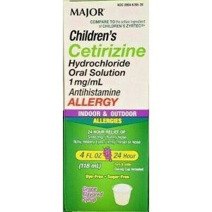 Major Children's Cetirizine Solution Liquid 1mg/mL (Compare to Zyrtec)